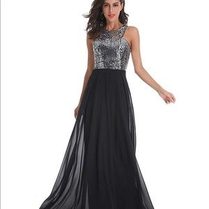 COPY - Long Formal Sequin Chiffon Evening Prom Dr…
